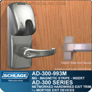 Schlage AD-300-993M - NETWORKED HARDWIRED EXIT TRIM - Exit Mortise Lock - Magnetic Stripe (Insert)