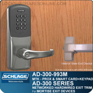 Schlage AD-300-993M - NETWORKED HARDWIRED EXIT TRIM - Exit Mortise Lock - Multi-Technology + Keypad | Proximity and Smart Card