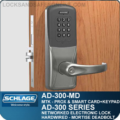 networked electronic mortise deadbolt schlage ad 300mdmtk. Black Bedroom Furniture Sets. Home Design Ideas