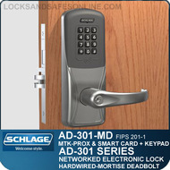 Schlage AD-301-MD - Networked Hardwired Mortise Deadbolt Locks - FIPS 201-1 Multi-Technology + Keypad | Proximity and Smart Card