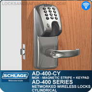 Schlage AD-400-CY - Networked Wireless Cylindrical Locks - Magnetic Stripe (Insert) + Keypad