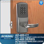 Schlage AD-400-CY - Networked Wireless Cylindrical Locks - Multi-Technology + Keypad   Proximity and Smart Card