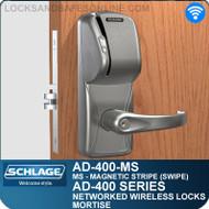Schlage AD-400-MS - Networked Wireless Mortise Locks - Magnetic Stripe (Swipe)