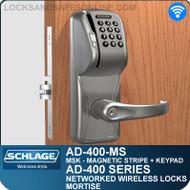 Schlage AD-400-MS - Networked Wireless Mortise Locks - Magnetic Stripe (Swipe) + Keypad
