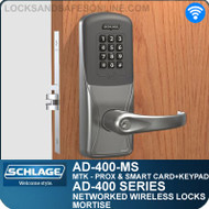 Schlage AD-400-MS - Networked Wireless Mortise Locks - Multi-Technology + Keypad   Proximity and Smart Card