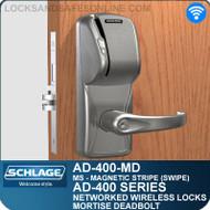 Schlage AD-400-MD - Networked Wireless Mortise Deadbolt Locks - Magnetic Stripe (Swipe)