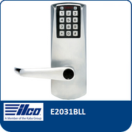 The E-Plex E2031BLL provides exterior access by combination, while allowing free egress. This electronic pushbutton lock eliminates problems and costs associated with issuing, controlling, and collecting keys and cards, has up to 100 access codes and is programmed via the keypad or with optional Microsoft Excel-based software.