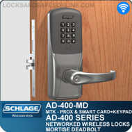 Schlage AD-400-MD - Networked Wireless Mortise Deadbolt Locks - Multi-Technology + Keypad   Proximity and Smart Card