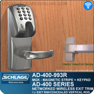 Schlage AD-400-993R - Networked Wireless Exit Trim - Exit Rim/Concealed Vertical Rod/Concealed Vertical Cable - Magnetic Stripe (Insert) + Keypad