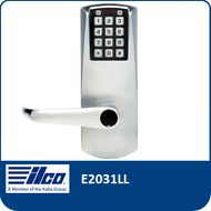 The E-Plex E2031LL provides exterior access by combination, while allowing free egress. This electronic pushbutton lock eliminates problems and costs associated with issuing, controlling, and collecting keys and cards, has up to 100 access codes and is programmed via the keypad or with optional Microsoft Excel-based software.