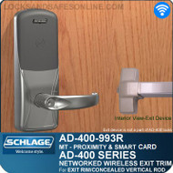 Schlage AD-400-993R - Networked Wireless Exit Trim - Exit Rim/Concealed Vertical Rod/Concealed Vertical Cable - Multi-Technology | Proximity and Smart Card