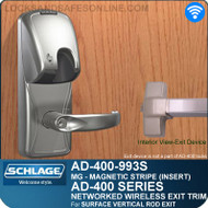 Schlage AD-400-993S - Networked Wireless Exit Trim - Exit Surface Vertical Rod - Magnetic Stripe (Insert)