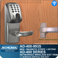 Schlage AD-400-993S - Networked Wireless Exit Trim - Exit Surface Vertical Rod - Magnetic Stripe (Insert) + Keypad