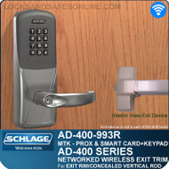 Schlage AD-400-993R - Networked Wireless Exit Trim - Exit Rim/Concealed Vertical Rod/Concealed Vertical Cable - Multi-Technology + Keypad | Proximity and Smart Card