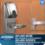 Schlage AD-400-993M - Networked Wireless Exit Trim - Exit Mortise Lock - Magnetic Stripe (Insert)