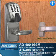 Schlage AD-400-993M - Networked Wireless Exit Trim - Exit Mortise Lock - Magnetic Stripe (Insert) + Keypad