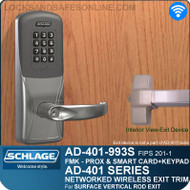 Schlage AD-401-993S - Networked Wireless Exit Trim - Exit Surface Vertical Rod - FMK (FIPS 201-1 Multi-Technology + Keypad | Proximity and Smart Card)