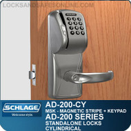 Schlage AD-200-CY - Standalone Cylindrical Locks - Magnetic Stripe (Swipe) + Keypad