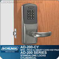 Schlage AD-200-CY - Standalone Cylindrical Locks - Multi-Technology + Keypad | Proximity and Smart Card