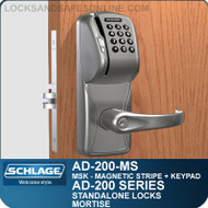 Schlage AD-200-MS - Standalone Mortise Locks - Magnetic Stripe (Swipe) + Keypad