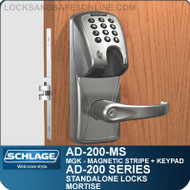 Schlage AD-200-MS - Standalone Mortise Locks - Magnetic Stripe (Insert) + Keypad