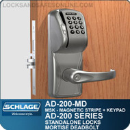 Schlage AD-200-MD - Standalone Mortise Deadbolt Locks - Magnetic Stripe (Swipe) + Keypad