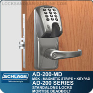 Schlage AD-200-MD - Standalone Mortise Deadbolt Locks - Magnetic Stripe (Insert) + Keypad