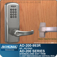 Schlage AD-200-993R - Standalone Exit Trim - Exit Rim/Concealed Vertical Rod/Concealed Vertical Cable - Keypad