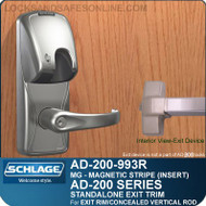 Schlage AD-200-993R - Standalone Exit Trim - Exit Rim/Concealed Vertical Rod/Concealed Vertical Cable - Magnetic Stripe (Insert)