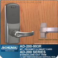 Schlage AD-200-993R - Standalone Exit Trim - Exit Rim/Concealed Vertical Rod/Concealed Vertical Cable - Multi-Technology | Proximity and Smart Card