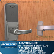 Schlage AD-200-993S - Standalone Exit Trim - Exit Surface Vertical Rod - Multi-Technology | Proximity and Smart Card