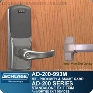 Schlage AD-200-993M - Standalone Exit Trim - Exit Mortise Lock - Multi-Technology | Proximity and Smart Card