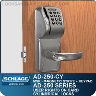 Schlage AD-250-CY - User Rights on Card - Cylindrical Locks with Magnetic Stripe (Swipe) + Keypad