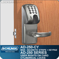 Schlage AD-250-CY - User Rights on Card - Cylindrical Locks with Magnetic Stripe (Insert) + Keypad