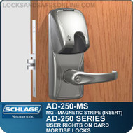 Schlage AD-250-MS - User Rights on Card - Mortise Locks with Magnetic Stripe (Insert)