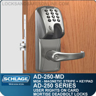 Schlage AD-250-MD - User Rights on Card - Mortise Deadbolt Locks with Magnetic Stripe (Insert) + Keypad