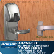 Schlage AD-250-993S - User Rights on Card - Exit Trim with Magnetic Stripe (Insert) - Exit Surface Vertical Rod