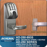 Schlage AD-250-993S - User Rights on Card - Exit Trim with Magnetic Stripe (Insert) + Keypad - Exit Surface Vertical Rod