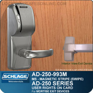 Schlage AD-250-993M - User Rights on Card - Exit Trim with Magnetic Stripe (Swipe) - Exit Mortise Lock