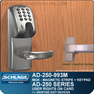Schlage AD-250-993M - User Rights on Card - Exit Trim with Magnetic Stripe (Insert) + Keypad - Exit Mortise Lock