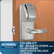 Standalone Electronic Magnetic Stripe Swipe Locks | Schlage CO-200-Cylindrical