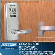 Electronic Exit Trim with Keypad Reader | Schlage CO-200-993R - Exit Rim/Concealed Vertical Rod/Concealed Vertical Cable | User Rights on Lock
