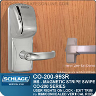 Exit Trim with Magnetic Stripe Swipe Reader | Schlage CO-200-993R - Exit Rim/Concealed Vertical Rod/Concealed Vertical Cable | User Rights on Lock