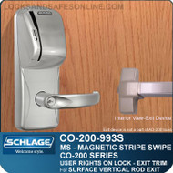 Exit Trim with Magnetic Stripe Swipe Reader | Schlage CO-200-993S - Exit Surface Vertical Rod | User Rights on Lock