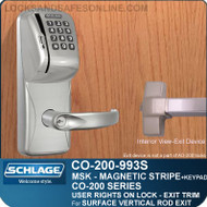 Schlage CO-200-993S - Exit Surface Vertical Rod - Exit Trim with Magnetic Stripe Swipe and Keypad Reader | User Rights on Lock
