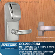 Exit Trim with Magnetic Stripe Swipe Reader | Schlage CO-200-993M - Exit Mortise Lock | User Rights on Lock