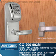 Schlage CO-200-993M -  Exit Mortise Lock | Exit Trim with Magnetic Stripe Swipe and Keypad Reader | User Rights on Lock