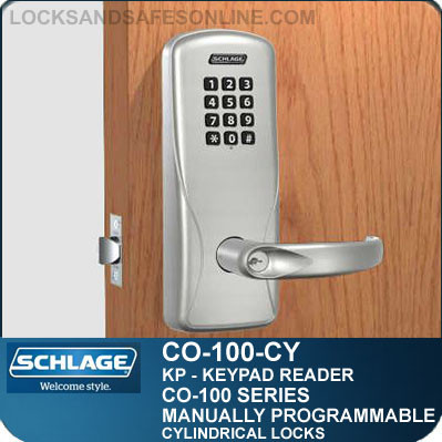 electronic cylindrical lock keypad reader schlage co100cy. Black Bedroom Furniture Sets. Home Design Ideas