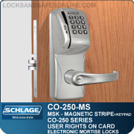 Mortise Magnetic Stripe Swipe & Keypad Locks | Schlage CO-250-MS | User Rights on Card