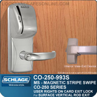 Exit Trim with Magnetic Stripe Swipe Locks | Schlage CO-250-993S - Exit Surface Vertical Rod | User Rights on Card
